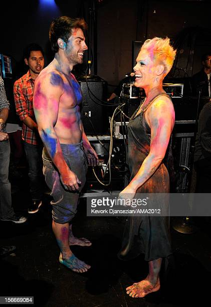 Dancer Colt Prattes and singer Pink at the 40th American Music Awards held at Nokia Theatre LA Live on November 18 2012 in Los Angeles California