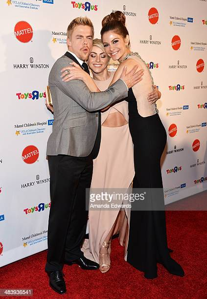 Dancer Derek Hough actress Julianne Hough and television personality Maria Menounos arrive at the Kaleidoscope Ball Designing The Sweet Side Of LA...