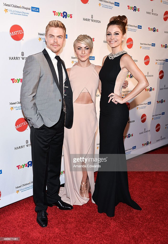 Dancer <a gi-track='captionPersonalityLinkClicked' href=/galleries/search?phrase=Derek+Hough&family=editorial&specificpeople=4532214 ng-click='$event.stopPropagation()'>Derek Hough</a>, actress <a gi-track='captionPersonalityLinkClicked' href=/galleries/search?phrase=Julianne+Hough&family=editorial&specificpeople=4237560 ng-click='$event.stopPropagation()'>Julianne Hough</a> and television personality <a gi-track='captionPersonalityLinkClicked' href=/galleries/search?phrase=Maria+Menounos&family=editorial&specificpeople=203337 ng-click='$event.stopPropagation()'>Maria Menounos</a> arrive at the Kaleidoscope Ball - Designing The Sweet Side Of L.A. event at The Beverly Hills Hotel on April 10, 2014 in Beverly Hills, California.