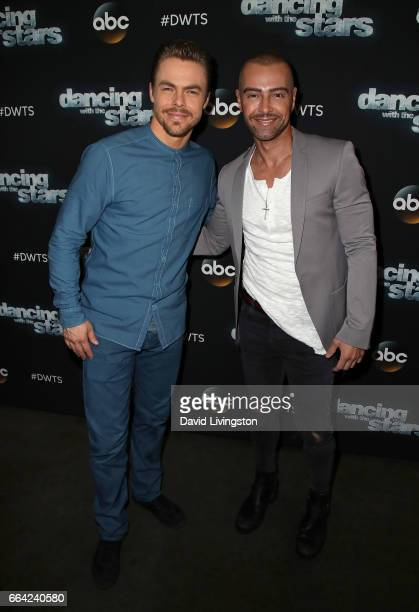 Dancer Derek Hough and actor Joey Lawrence attend 'Dancing with the Stars' Season 24 at CBS Televison City on April 3 2017 in Los Angeles California