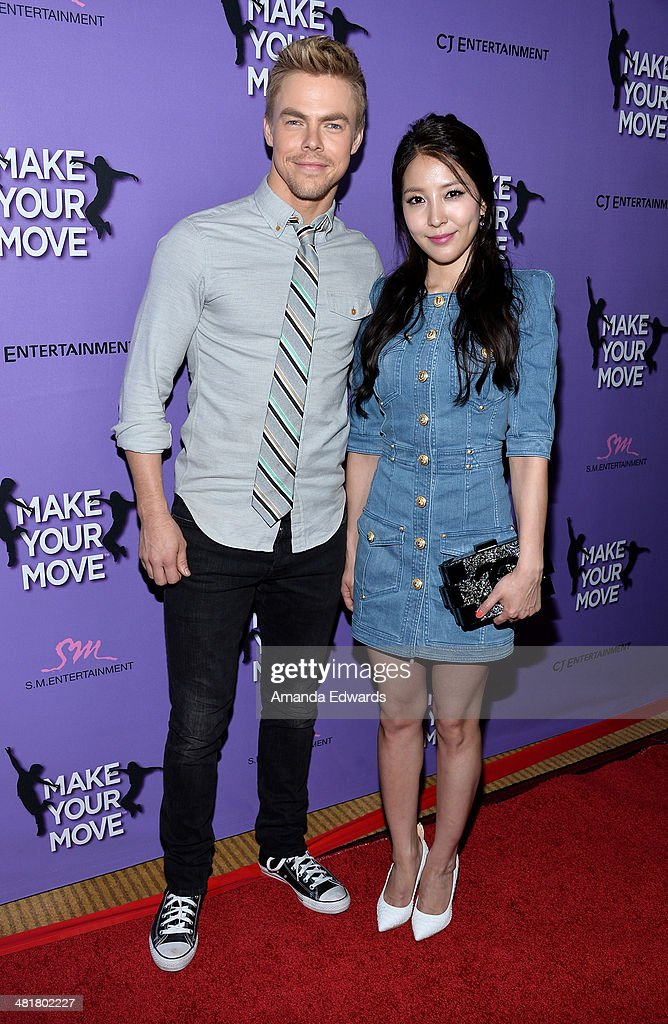 Dancer <a gi-track='captionPersonalityLinkClicked' href=/galleries/search?phrase=Derek+Hough&family=editorial&specificpeople=4532214 ng-click='$event.stopPropagation()'>Derek Hough</a> (L) and singer BoA arrive at the Los Angeles premiere of 'Make Your Move' at Pacific Theaters at the Grove on March 31, 2014 in Los Angeles, California.