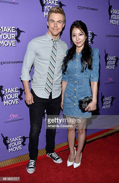 Dancer Derek Hough and singer BoA arrive at the Los Angeles premiere of 'Make Your Move' at Pacific Theaters at the Grove on March 31 2014 in Los...