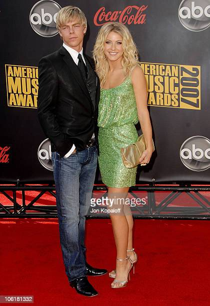 Dancer Derek Hough and sister dancer Julianne Hough arrive at the 2007 American Music Awards at the Nokia Theatre on November 18 2007 in Los Angeles...