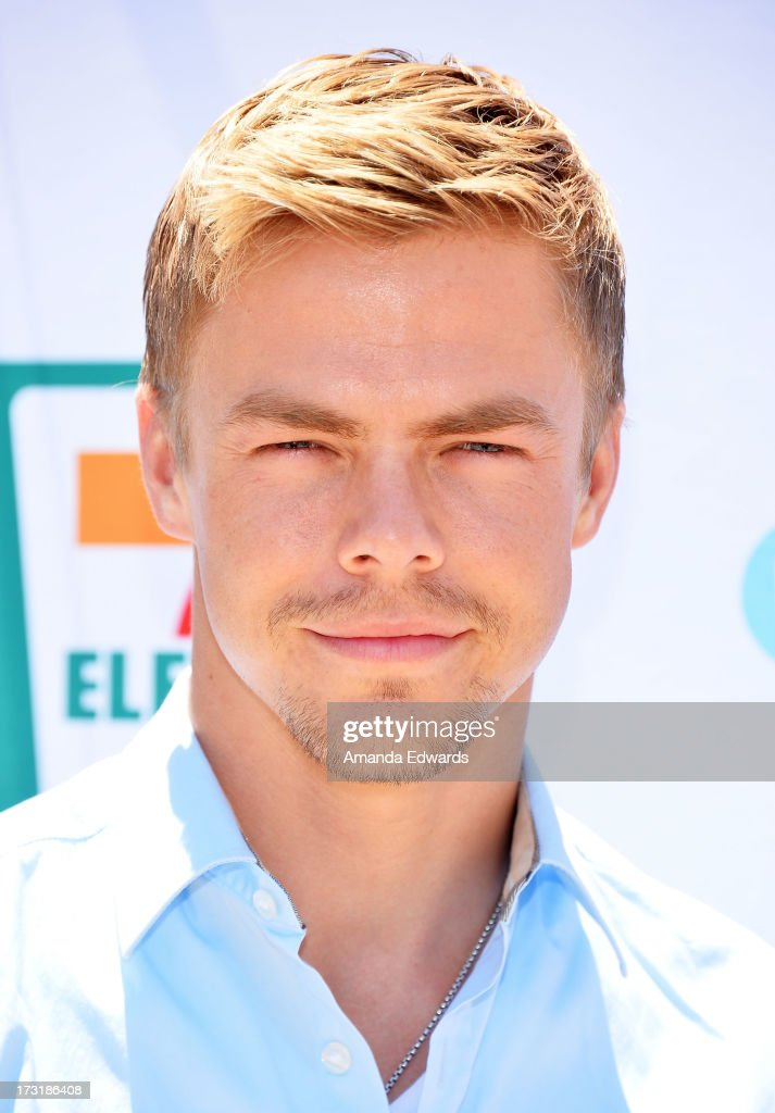 Dancer <a gi-track='captionPersonalityLinkClicked' href=/galleries/search?phrase=Derek+Hough&family=editorial&specificpeople=4532214 ng-click='$event.stopPropagation()'>Derek Hough</a> arrives at 7-Eleven's 86th birthday party hosted by actress Nikki Reed at a private residence on July 9, 2013 in Malibu, California.
