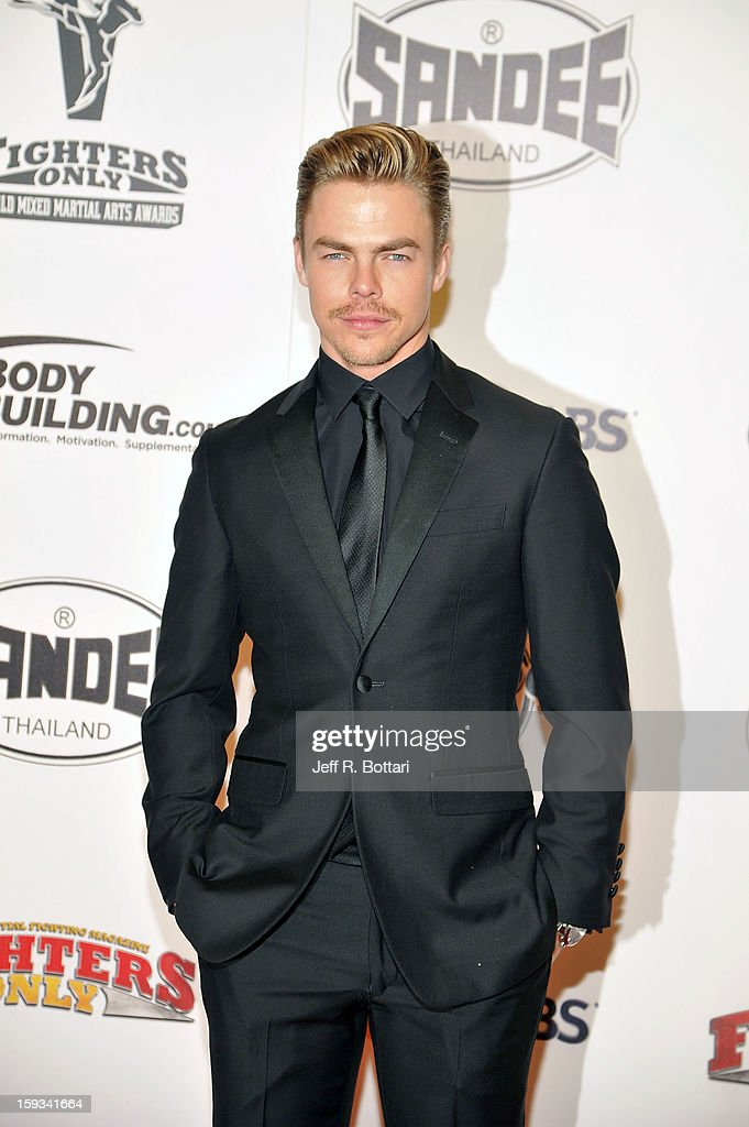 Dancer <a gi-track='captionPersonalityLinkClicked' href=/galleries/search?phrase=Derek+Hough&family=editorial&specificpeople=4532214 ng-click='$event.stopPropagation()'>Derek Hough</a> arrives at the Fighters Only World Mixed Martial Arts Awards at the Hard Rock Hotel & Casino on January 11, 2013 in Las Vegas, Nevada.