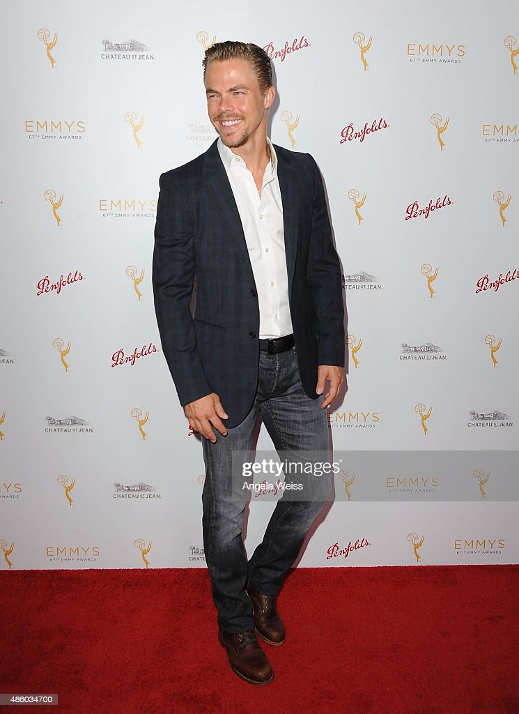 Dancer Derek Hough arrives at the Television Academy's cocktail reception for The 67th Emmy Award Nominees for Outstanding Choreography at Montage...