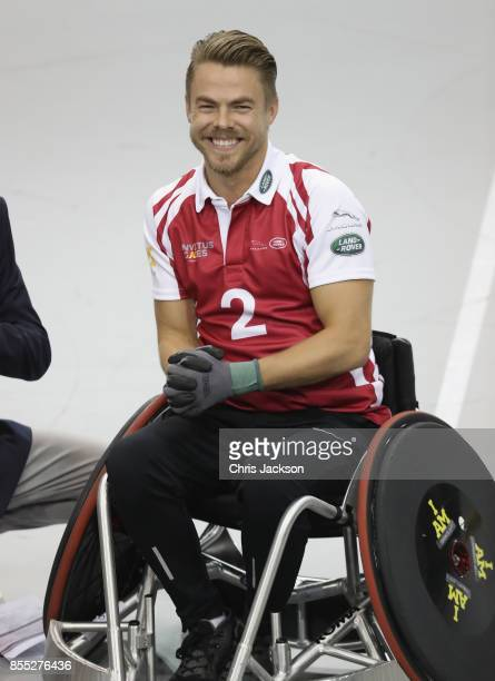 Dancer Derek Hough competes in the Celebrity Wheelchair Rugby competition during the Invictus Games 2017 at Mattamy Athletics Centre on September 28...