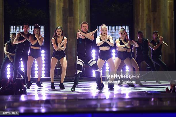 Dancer Derek Hough performs onstage at the 2014 Young Hollywood Awards brought to you by Samsung Galaxy at The Wiltern on July 27 2014 in Los Angeles...