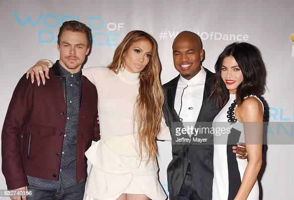 Dancer Derek Hough singeractressdancer Jennifer Lopez singersongwriterdancer NeYo and actressdancer Jenna Dewan Tatum attend the Photo Op for NBC's...