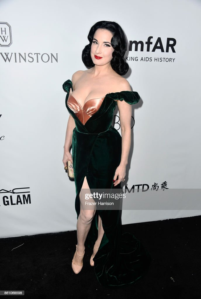 Dancer Dita Von Teese attends the amfAR Gala at Ron Burkle's Green Acres Estate on October 13, 2017 in Beverly Hills, California.