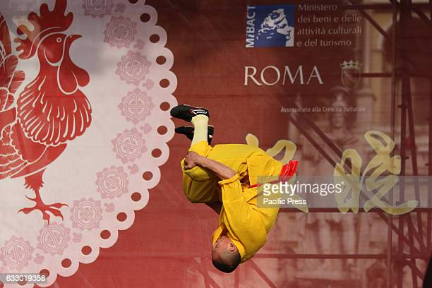 A dancer doing gymnastics during the Chinese New Year in Rome parades and martial arts Attended by the mayor Virginia Raggi