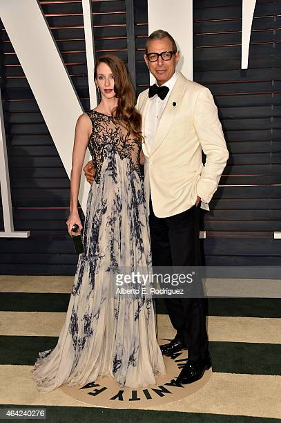 Dancer Emilie Livingston and actor Jeff Goldblum attend the 2015 Vanity Fair Oscar Party hosted by Graydon Carter at Wallis Annenberg Center for the...