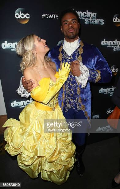 Dancer Emma Slater and NFL player Rashad Jennings attend 'Dancing with the Stars' Season 24 at CBS Televison City on April 17 2017 in Los Angeles...