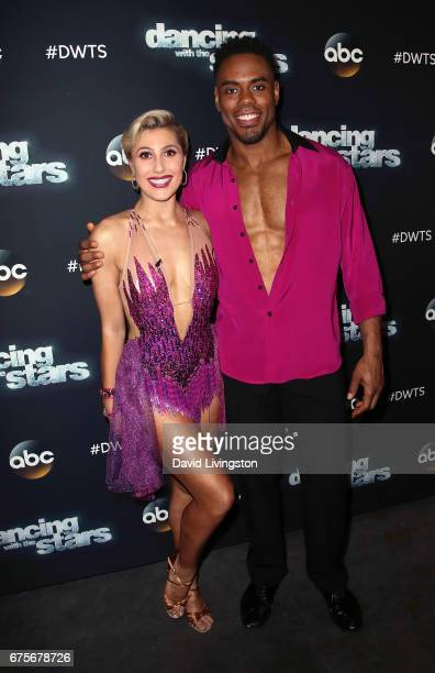 Dancer Emma Slater and NFL player Rashad Jennings attend 'Dancing with the Stars' Season 24 at CBS Televison City on May 1 2017 in Los Angeles...