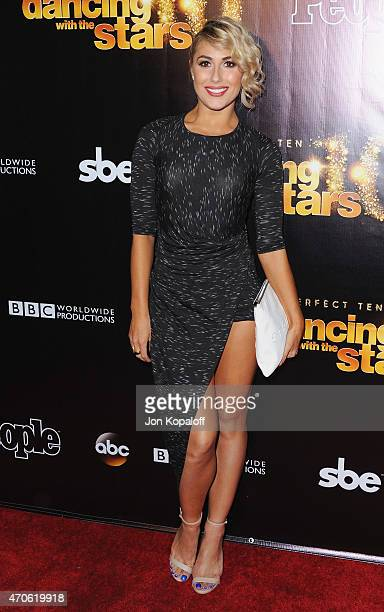 Dancer Emma Slater arrives at the 10th Anniversary Of 'Dancing With The Stars' Party at Greystone Manor on April 21 2015 in West Hollywood California