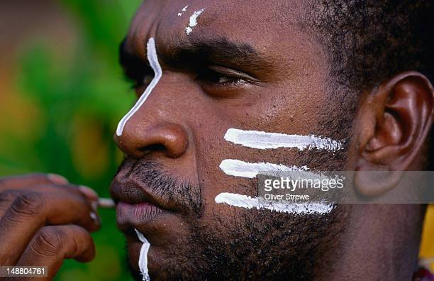 A dancer from Berlibal Dance troupe prepares for a performance, Bamaga, Cape York Peninsula