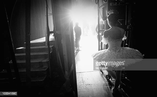 Dancer from the English National Ballet waits in the wings during the performance of Cinderella at the Mayflower Theatre Southampton on April 29 2010