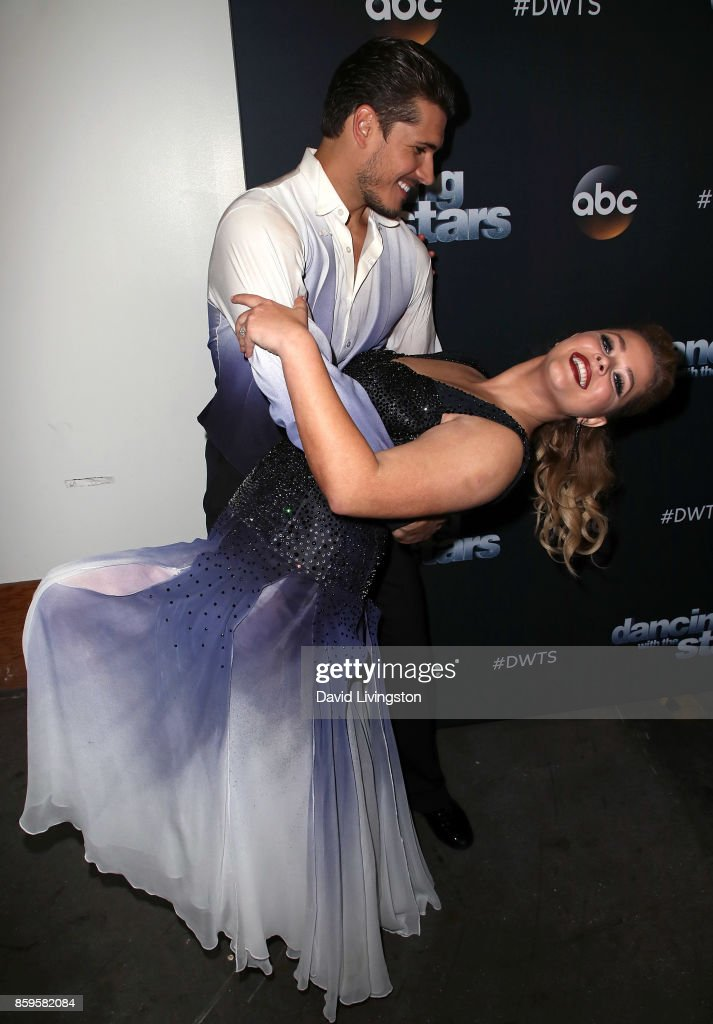Dancer Gleb Savchenko (L) and actress Sasha Pieterse attend 'Dancing with the Stars' season 25 at CBS Televison City on October 9, 2017 in Los Angeles, California.