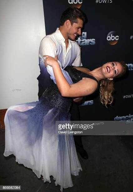 Dancer Gleb Savchenko and actress Sasha Pieterse attend 'Dancing with the Stars' season 25 at CBS Televison City on October 9 2017 in Los Angeles...