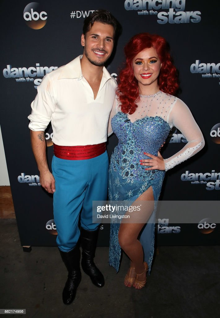 Dancer Gleb Savchenko (L) and actress Sasha Pieterse pose at 'Dancing with the Stars' season 25 at CBS Televison City on October 16, 2017 in Los Angeles, California.