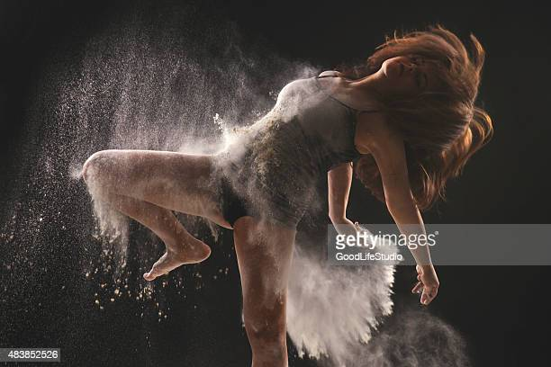Dancer in white powder