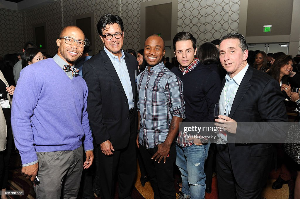 Dancer Jimmy R.O. Smith, SVP of targeted marketing at Warner Bros Pictures Rick Ramirez, dancers George Jones Jr. and Beau 'Casper' Smart and senior vice president of ad sales and marketing for NUVOtv Craig Geller attend the ANA Multicultural Cocktail Reception sponsored by NUVOtv at JW Marriott Los Angeles at L.A. LIVE on November 3, 2013 in Los Angeles, California.