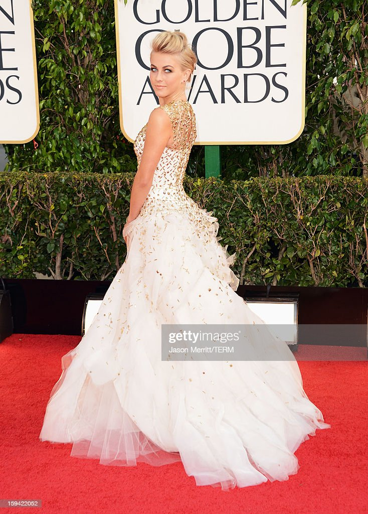 Dancer Julianne Hough arrives at the 70th Annual Golden Globe Awards held at The Beverly Hilton Hotel on January 13, 2013 in Beverly Hills, California.