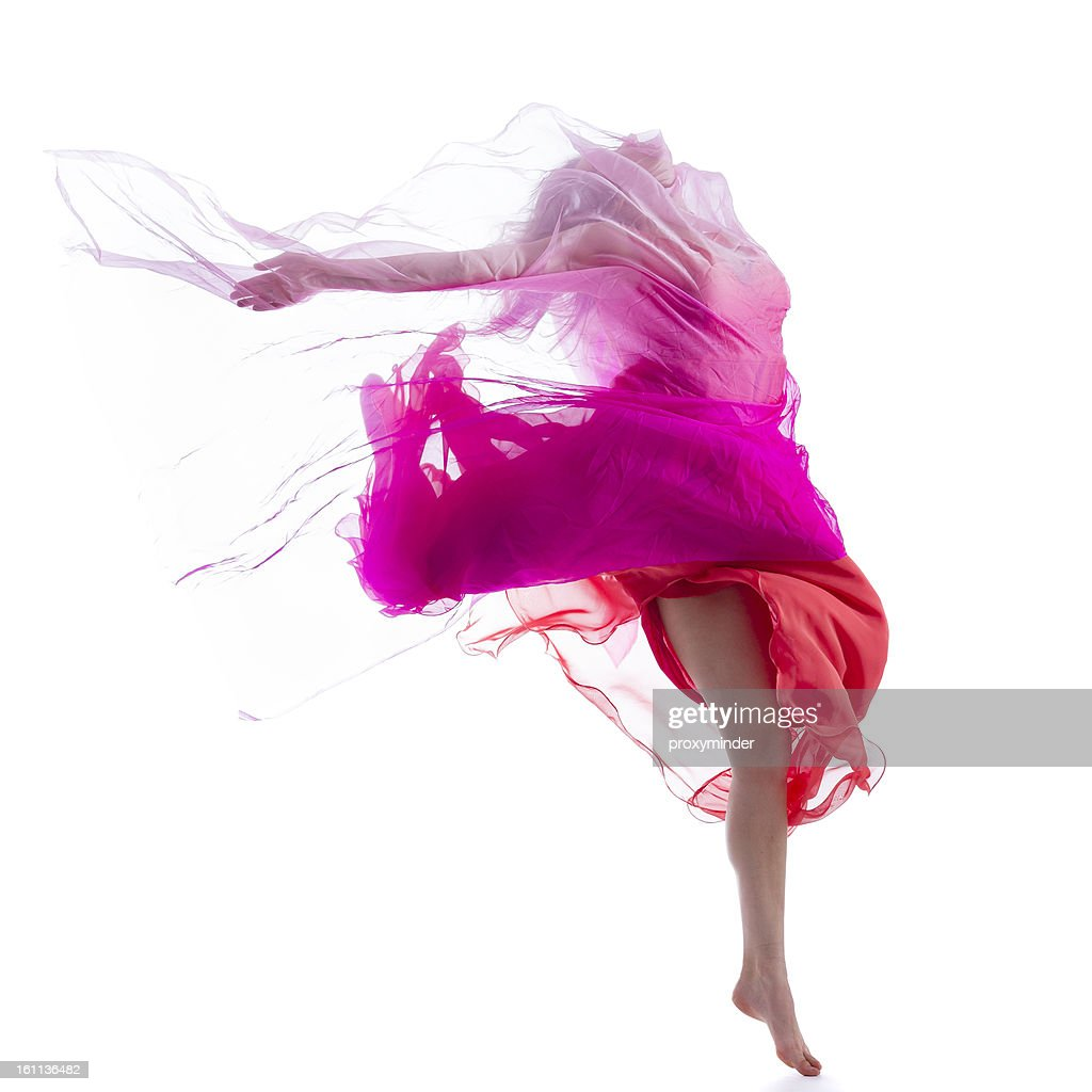 Dancer jump on white background with pink fabric