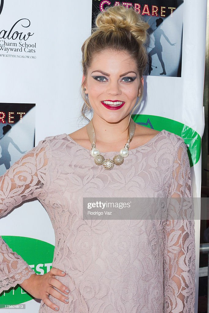 Dancer Kali Clugston arrives at 'CATberet' - A Musical Review for local cat and kitten rescue center Kitty Bungalow Charm School For Wayward Cats at Belasco Theatre on August 4, 2013 in Los Angeles, California.