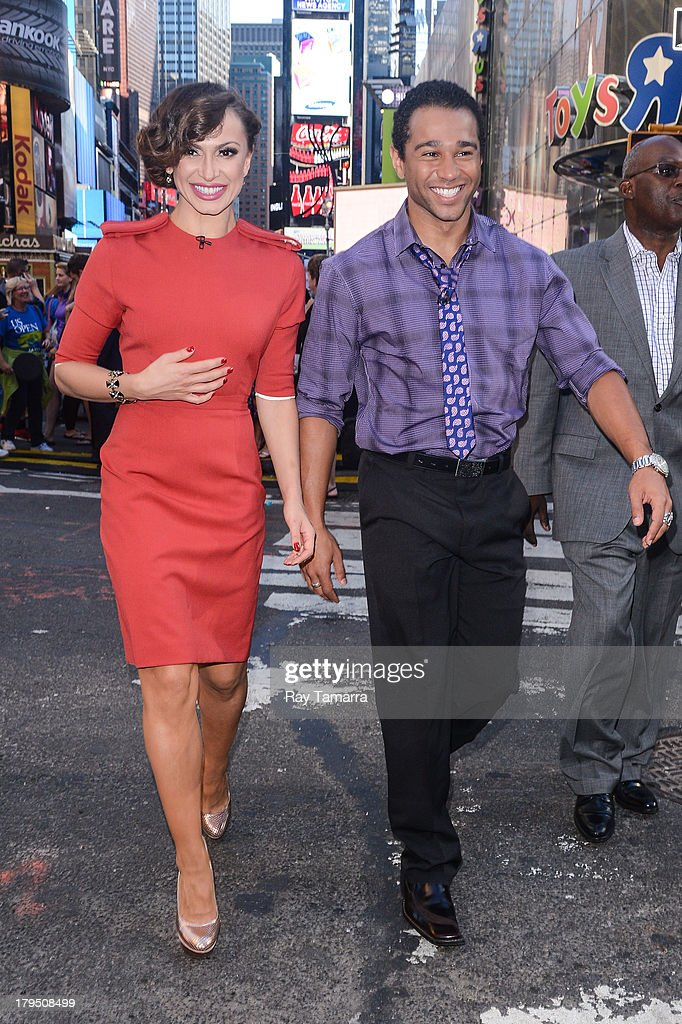Dancer Karina Smirnoff and actor Corbin Bleu leave the 'Good Morning America' taping at the ABC Times Square Studios on September 4 2013 in New York...