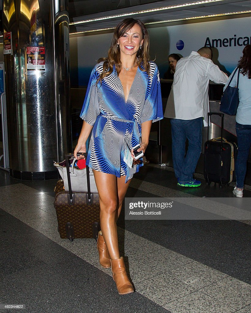Dancer Karina Smirnoff is seen at Laguardia Airport on July 18, 2014 in Queens borough of New York City.
