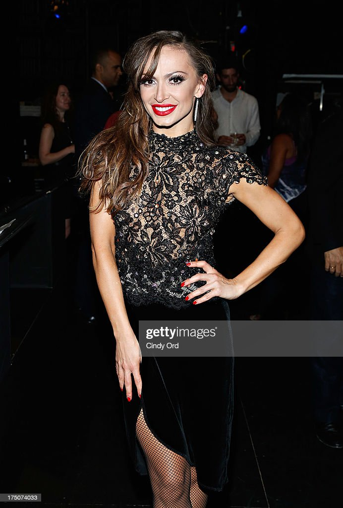 Dancer Karina Smirnoff poses backstage following her performance with 'Forever Tango' at the Walter Kerr Theatre on July 30, 2013 in New York City.