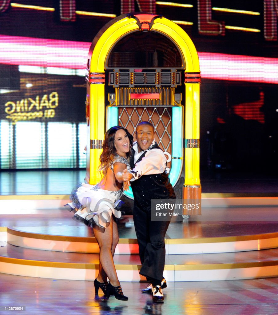 Dancer Lacey Schwimmer and actor Kyle Massey perform during the grand opening of 'Dancing With the Stars Live in Las Vegas' at the New Tropicana Las...