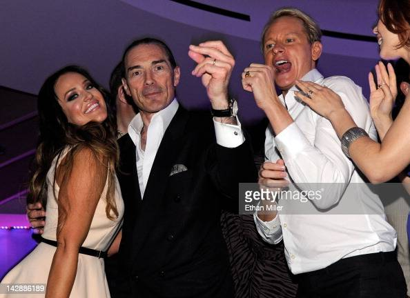 Dancer Lacey Schwimmer Chairman and CEO of the New Tropicana Las Vegas Inc Alex Yemenidjian and television personality Carson Kressley attend the...