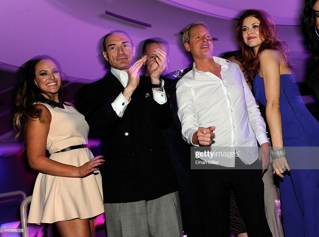 Dancer Lacey Schwimmer Chairman and CEO of the New Tropicana Las Vegas Inc Alex Yemenidjian television personality Carson Kressley and dancer Anna...