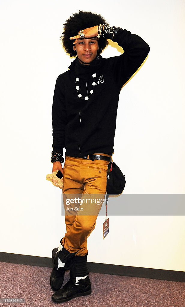 Dancer Laurent Bourgeois of Les Twins poses for a photograph upon airport arrival on September 2, 2013 in Tokyo, Japan.