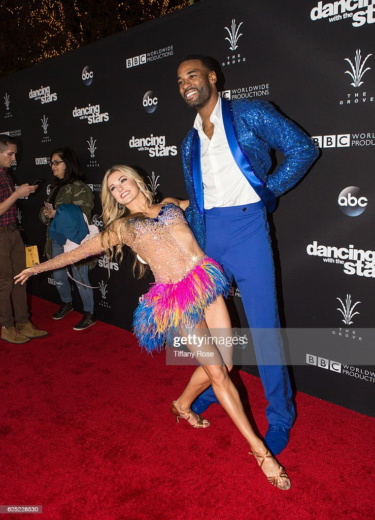 Dancer Lindsay Arnold and football player Calvin Johnson Jr. attend the 'Dancing With The Stars' live finale at The Grove on November 22, 2016 in Los Angeles, California.