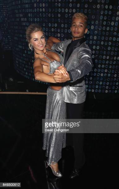 Dancer Lindsay Arnold and singer Jordan Fisher attend 'Dancing with the Stars' season 25 at CBS Televison City on September 18 2017 in Los Angeles...