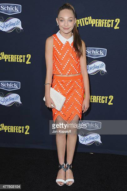 Dancer Maddie Ziegler arrives at the Los Angeles Premiere 'Pitch Perfect 2' at Nokia Theatre LA Live on May 8 2015 in Los Angeles California