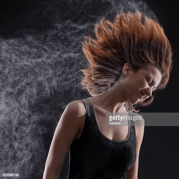 Dancer making hair trail