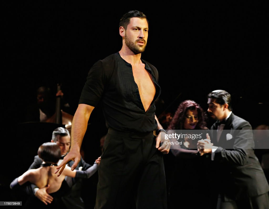 Dancer <a gi-track='captionPersonalityLinkClicked' href=/galleries/search?phrase=Maksim+Chmerkovskiy&family=editorial&specificpeople=4251170 ng-click='$event.stopPropagation()'>Maksim Chmerkovskiy</a> takes part in the 'Forever Tango' Curtain Call at Walter Kerr Theatre on July 30, 2013 in New York City.