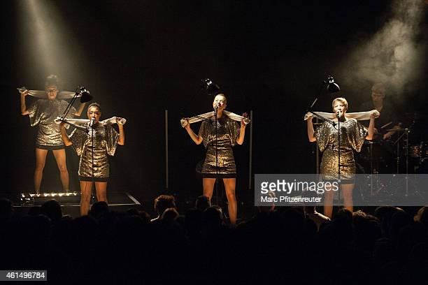 Dancer Marisa Akeny Johanna Marshall Nicola Rost and Larissa Pesch of Laing perform at the Gloria Theater on January 13 2015 in Cologne Germany