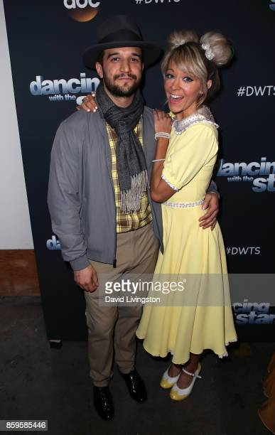 Dancer Mark Ballas and violinist Lindsey Stirling attend 'Dancing with the Stars' season 25 at CBS Televison City on October 9 2017 in Los Angeles...