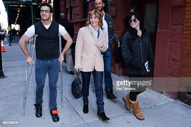 Dancer Mark Ballas his mother Shirley Ballas and television personality Shannon Doherty walk in Midtown Manhattan on April 01 2010 in New York City