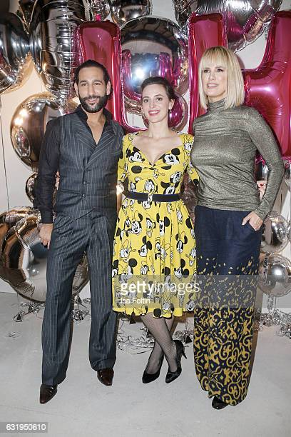 Dancer Massimo Senato fashion designer Lena Hoschek and german actress Monica Ivancan seen at the Lena Hoschek show during the MercedesBenz Fashion...