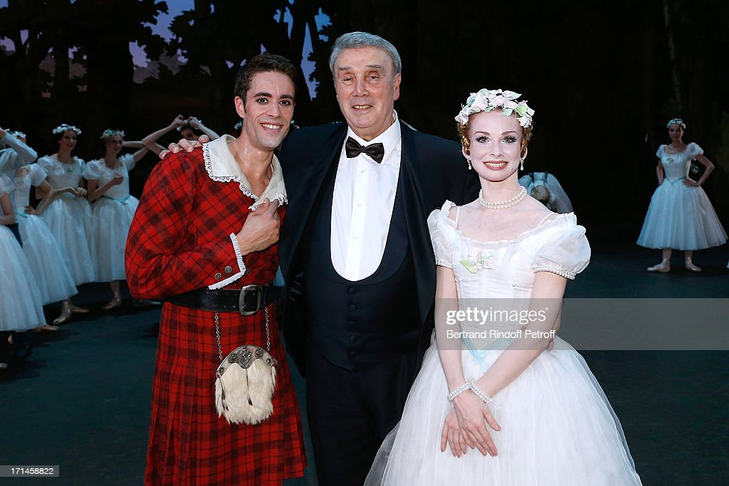 Dancer Mathias Heymann, Choreographer Pierre Lacotte, honored in this gala, and Main Dancer of Bolchoi Evgenia Obrastzova perform at Gala of AROP at Opera Garnier with representation of 'La Sylphide' on June 24, 2013 in Paris, France.