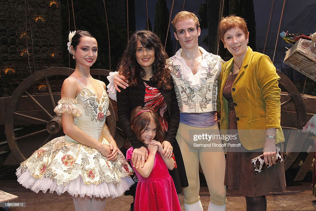 Dancer Mathilde Froustey, Salma Hayek, her daughter Valentina Paloma Pinault, dancer Francois Alu and Brigitte Lefevre, Director Dance Opera de Pari pose after the Don Quichotte Ballet Hosted By 'Reve d'Enfants' Association and AROP at Opera Bastille on December 9, 2012 in Paris, France.