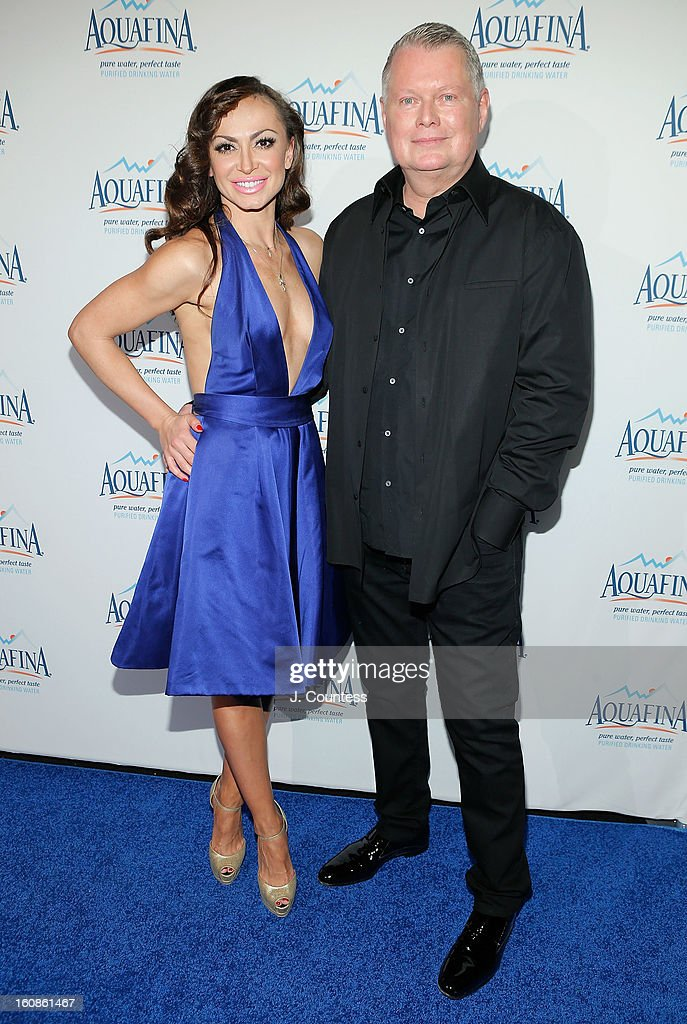 Dancer/ media personality Karina Smirnoff and Designer Bert Keeter attend The Aquafina 'Pure Challenge' After Party at The Empire Hotel Rooftop on February 6, 2013 in New York City.