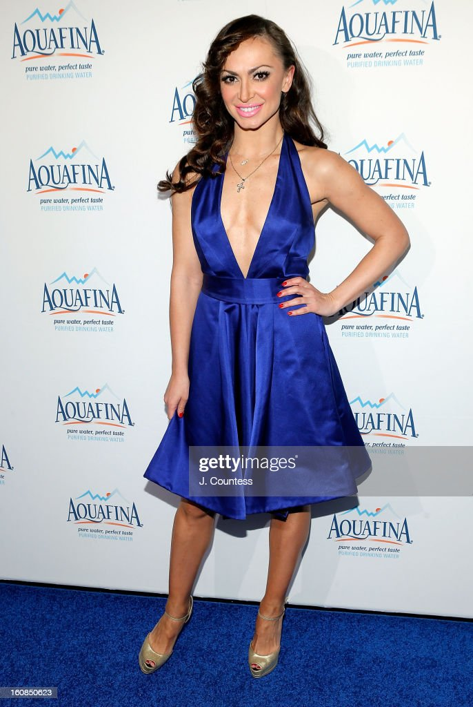 Dancer/ media personality Karina Smirnoff attends The Aquafina 'Pure Challenge' After Party at The Empire Hotel Rooftop on February 6, 2013 in New York City.