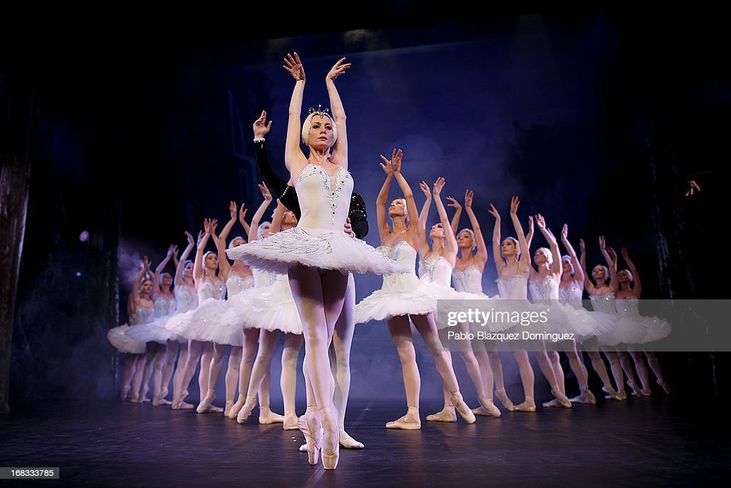 Dancer Nataliya Kungurtseva (C) of the Classical Russian Ballet performs during a rehearsal of 'Swan Lake' at Nuevo Apolo Theatre on May 8, 2013 in Madrid, Spain.